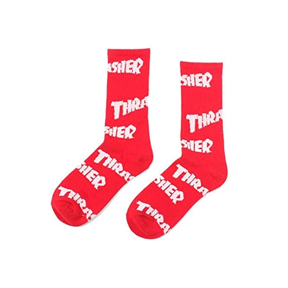 AOKDOOR medias calle moda nueva carta Street Trendy Crew hombres graciosos calcetines de algodón impresión calcetines