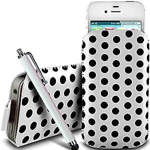 Online-Gadgets UK - Nokia Asha 311 PU protector Polka de cuero con cremallera diseño antideslizante de cordón en la bolsa del caso con cierre rápido y grande Stylus Pen - Blanco
