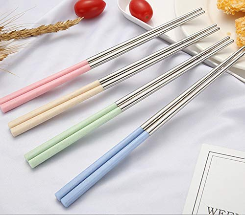 4 Pairs of Stainless Steel Wheat Straw Chopsticks Set,Environmental Reusable Heat Resistant Stainless Steel Wheat Straw Handle Traditional Chinese Chopsticks