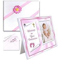 Bendición, regalo de dedicación para el marco de fotos de niñas bebés | Asequible, colorido | Tiene una foto de 3.5 x 5 | Diseño innovador de carga frontal | Tema Rosa Dedicación