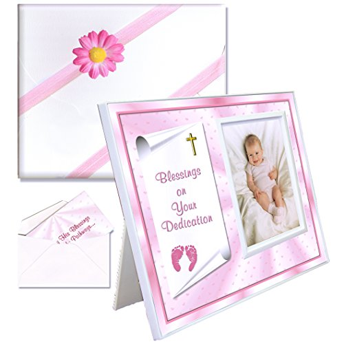 Blessings Dedication Gift for Baby Girls Picture Frame | Affordable, Colorful | Holds a 3.5 x 5 Photo | Innovative Front-Load Design | Pink Dedication Theme