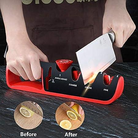 Afilador de Cuchillos Profesional, 4 en 1 Manual Afilador de Cuchillos de Cocina Kitchen Knife and Scissors Sharpener, 4 Etapas Ángulo Ajustable Afilador de Cuchillos para Cuchillos y Tijeras