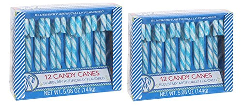 Blueberry Candy Cane 2 Pack of 12 Candy Canes - 5.08 Oz Box - 24 Total Delicious Blueberry Candy Canes
