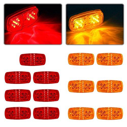 Partsam 13x Trailer Marker LED Light Double Bullseye Amber/Red 10LED Clearance - Passenger Design Side