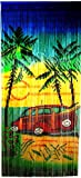 Bamboo Beach Scene Curtain with Woody Car and Surfboard