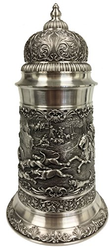 Deer Hunters with Dogs Relief German Pewter Beer Stein 1.75 L Made in Germany by Pinnacle Peak Trading Company