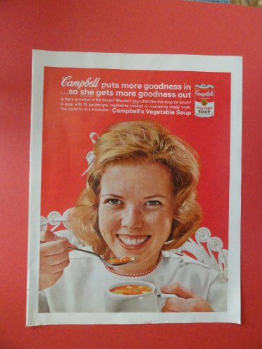 (Campbell soup, 1963 Print Ad. (Woman eating cup of soup.) Original Vintage Magazine Print Art.)