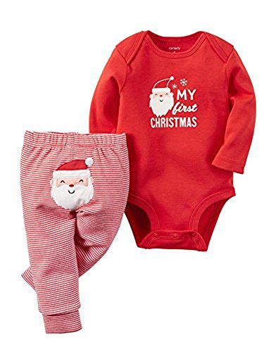 """Carter's Baby 2-Piece Bodysuit and Pant Set, """"My First Christmas"""", Red, 3M"""