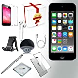 Apple iPod Touch 6th generation Music player, 128GB -GRAY- w/ iTouch Accessory Kit includes; Bluetooth Speaker + Clear Case & Screen Protector + ipod 5-Angle Adjustable Stand + iPod Stylus Pen + Cloth