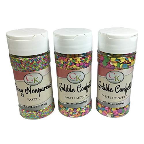 (CK Products Tiny Pastel Nonpareils, Pastel Sequins, Pastel Confetti Decorating Sprinkle 3 Pack)