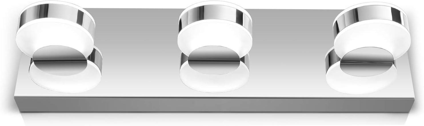 OOWOLF LED Vanity Light, 17.12 inches 3-Light Brushed Nickel LED Bath Vanity Light with Frosted Acrylic Shade, 6000K Daylight