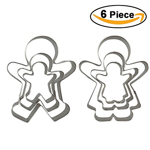 Funny Gingerbread Man Cookie Cutters, Boy and Girl Cookie Cutter Set Molds, 6 Piece Gingerbread Man Gift Set