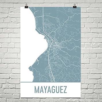 image regarding Printable Maps of Puerto Rico called : Mayaguez Map, Mayaguez Artwork, Mayaguez Print