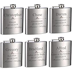 Top Shelf Flasks Personalized Custom Engraved 6oz Stainless Steel Flasks for Weddings, True Metal Etching Lasts a Lifetime, 6PK