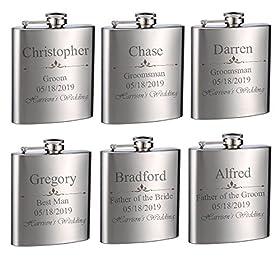 Top Shelf Flasks Personalized Custom Engraved 6oz Stainless Steel Flasks for Weddings, True Metal Etching Lasts a Lifetime, 6PK