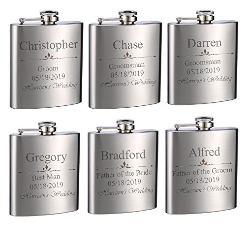 Top Shelf Flasks Personalized Custom Engraved 6oz Stainless Steel Flasks for Weddings, True Metal Etching Lasts a Lifetime, 6PK by Top Shelf Flasks
