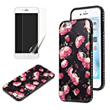 Flower Design Case for iphone 7 with Screen Protector, OYIME Vintage Floral Pattern Hard Plastic Back + Soft Silicone Glitter Rhinestones Frame 2 in 1 New Hybrid Black Cover Thin Slim Fit Protection Shockproof Scratch Resistant Shiny Bling Bumper - Wild Rose