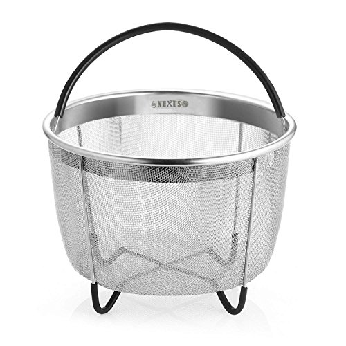 Instant Pot Steamer Basket 6 qt Kitchen by NEXUS - Easy-to-Use Steamer Insert for Vegetables, Eggs, Meat and More - Premium Stainless-Steel Nonstick Metal Instapot Veg Pressure Cooker Accessories. ()