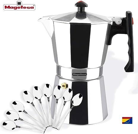 MAGEFESA Colombia – La cafetera MAGEFESA Colombia está Fabricada en Aluminio Extra Grueso. Pomo y Mangos ergonómicos de bakelita Toque Frio. (Aluminio, 9 Tazas + CUCHARILLAS): Amazon.es: Hogar