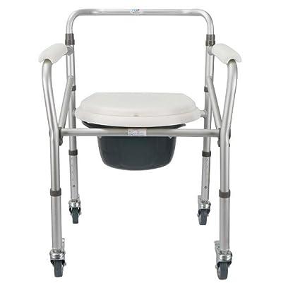 Silla de baño Silla de ducha Aleación de aluminio Rueda Aseo Aseo Inodoro Plegable Baranda Stand