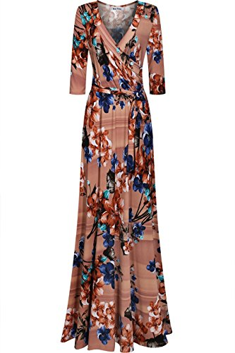 Skirts Wrap Style Dress - Bon Rosy Women's Silky and Stretchy 3/4 Sleeve Deep V-Neck Peony Printed Maxi Faux Wrap Dress Taupe Navy S