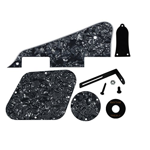 (FLEOR 4Ply Black Pearl Pickguard Back Plate Screws Set & Switch Ring & Truss Rod Cover Plate & Black Bracket Fit Gibson Les Paul Pickguard Replacement)