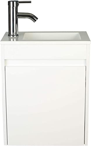 LUCKWIND Bathroom Vanity W Sink Combo 16 for Small Space MDF Paint Modern Design White Wall Mounted Cabinet Set, White Resin Basin Sink Top, Chrome Faucet W Flexible U Shape Drain White