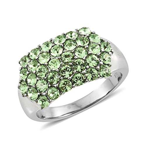 Ring Crystal Swarovski Peridot (Stainless Steel Fashion Ring for Women Made with Swarovski Peridot Crystal Size 7)
