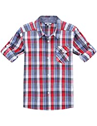 Boy 's Cotton Plaid Roll Up Sleeve Button Down Sports Shirts