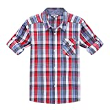Bienzoe Boy 's Cotton Plaid Roll Up Sleeve Button Down Sports Shirts Red/Blue 5/6