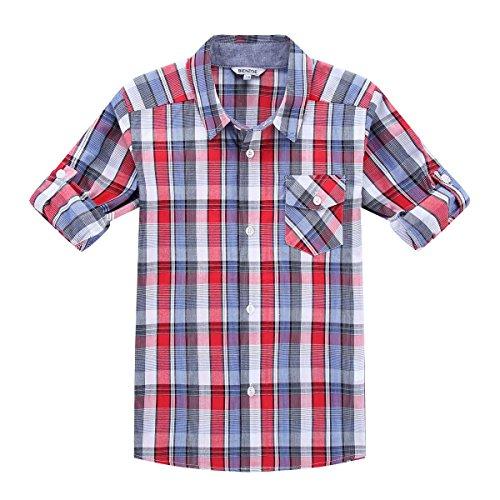 Bienzoe Boy's Cotton Plaid Roll Up Button Down Sports Shirts Red/Blue 7/8