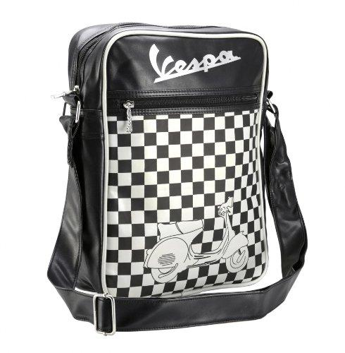 """Schultertasche FORME """"Vespa Logo/ chequered"""", sch.. ..warz/weiß kariert, high, 250x310x90mm"""