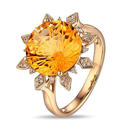 Caimao Jewelry 6.16ct Citrine 18k Yellow Gold 0.12ct Pave Diamond Ring Sunflower