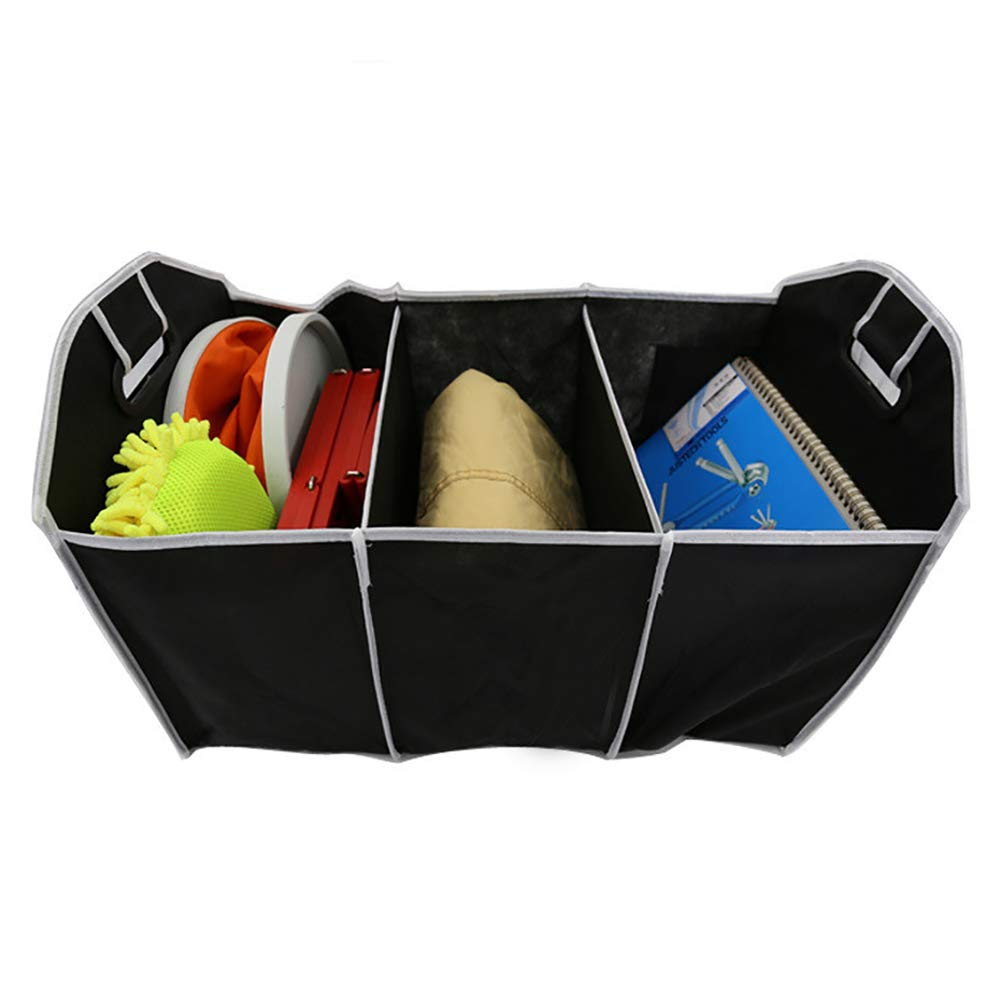 UTENEW Car Trunk Organizer Collapsible SUV Cargo Storage 3 Compartments Space Saver Containers, Two Handles and Side Pockets, Portable