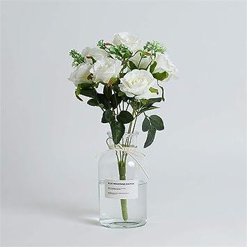 Licxcx Flores Artificiales Pequeño Cristal de Hortensia Creativo Fresco Nordic ins Wind florero decoración de Sala