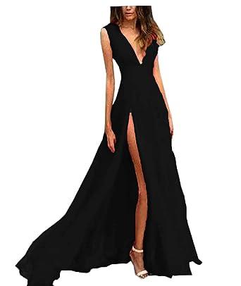 Pebridal Womens Deep V Neck Sexy Evening Dress Long Slit Prom Simple