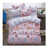"KFZ 4pcs BeddingSet Duvet Cover No Comforter Two Pillow Cases Flat Sheet Twin Size 60""x 80"" Deer Forest Flower Animal Cartoon Design for Kids Adults Teens Sheet Sets (Twin, Jungle Adventure)"