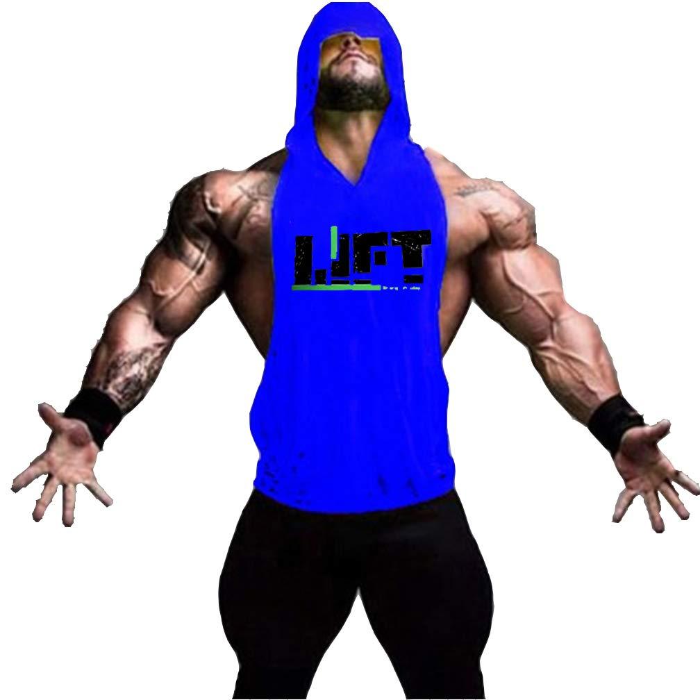 Befox Herren Stringer Fitness Gym Shirt Herren Tank Top Lift T-Shirt mit Kapuze Weste Muscleshirt Print Sport Vest
