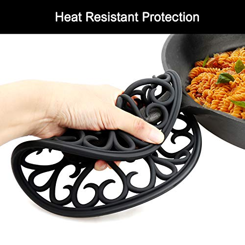 Non Slip Silicone Carved Trivet Mats Set For Dishes Pot Holders- Heat Resistant Coasters-Modern Kitchen Hot Pads For Pots & Pans | (Round, Set of 3, Black)