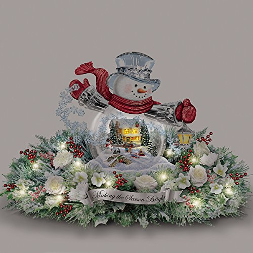 Thomas Kinkade Snowman Snow Globe Holiday Home Floral Centerpiece: Lights Up by The Bradford Exchange by Bradford Exchange (Image #4)
