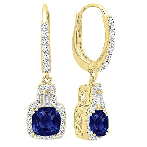 Dazzlingrock Collection 14K 5 MM Each Cushion Blue Sapphire And Tapered & Round Diamond Ladies Drop Earrings, Yellow Gold