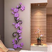 3D Wall Stickers Romantic Rose Flower Wall Sticker Removable Decal Room Vinyl (Purple)