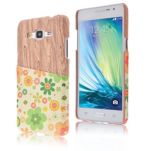 SMART LEGEND PC Funda para Samsung Galaxy Grand Prime G530 Cubierta de Cuero Trasero Caso Cubierta con excelente PU Cuero exterior y PC Plástico interior Espalda Duro (Rojo) Flor
