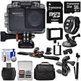 Vivitar DVR794HD 1080p HD Wi-Fi Waterproof Action Video Camera Camcorder (Black) with Remote, Helmet, Bike & Suction Cup Mounts + 32GB Card + Case + Selfie Stick Kit Action Cameras