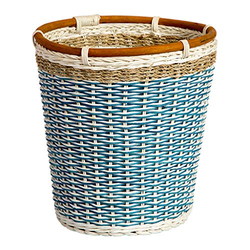 Derxer Straw Rattan Trash Can Home Garden Creative Living Room Bedroom Woven Waste Paper Basket Chinese Bamboo Garbage Basket Without Cover,Blue from Derxer