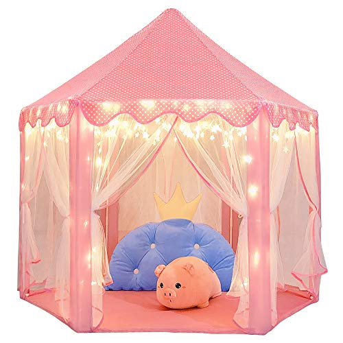 Wilwolfer Princess Castle Play Tent Large Kids Play House with Star Lights Girls Pink Play Tents Toy for Indoor & Outdoor Games (6 Year Old Princess Birthday Party Ideas)