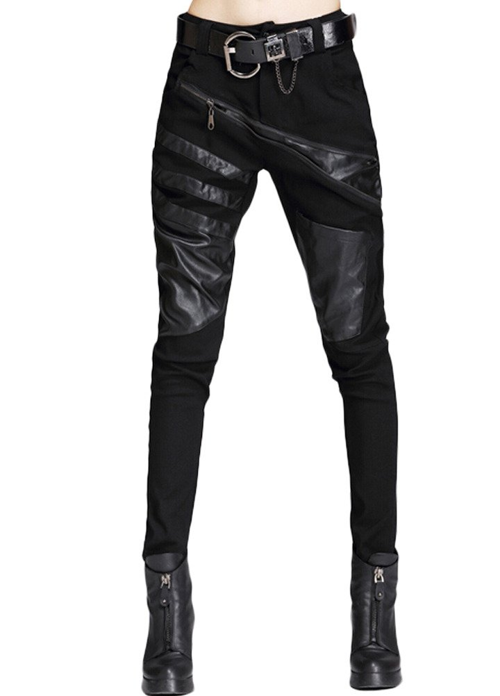 Minibee Women's Harem Patchwork Leather Pocket Punk Style Personalized Pants Black 2 S