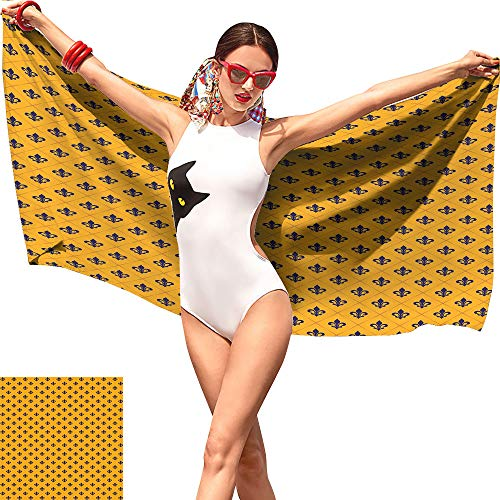 Camerofn Fleur De Lis Kid Beach Towel,Checkered Pattern with Historical Lily Motifs Retro Emblem Floral Design Marigold Purple,Beach Chair Towel W12 x -
