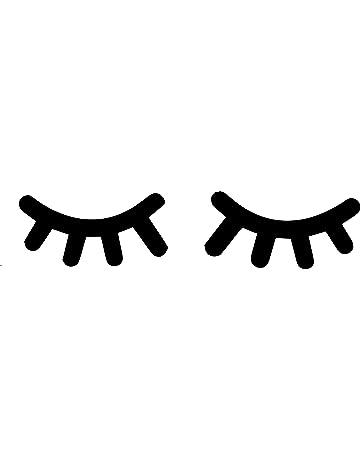 Sleepy ojos pestañas pegatinas de vinilo para niña habitación pared pegatinas 6 cm x 10 cm