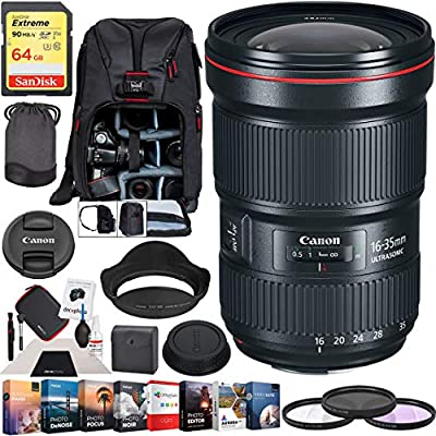 Canon EF 16-35mm f//2.8L III USM Ultra Wide Angle Zoom Full Frame Lens with Vanguard Tripod Plus 64GB Accessories Bundle